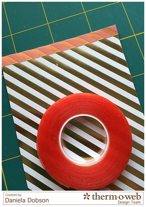 Happy Holidays step 1 by Daniela Dobson for Therm O Web Suprtape