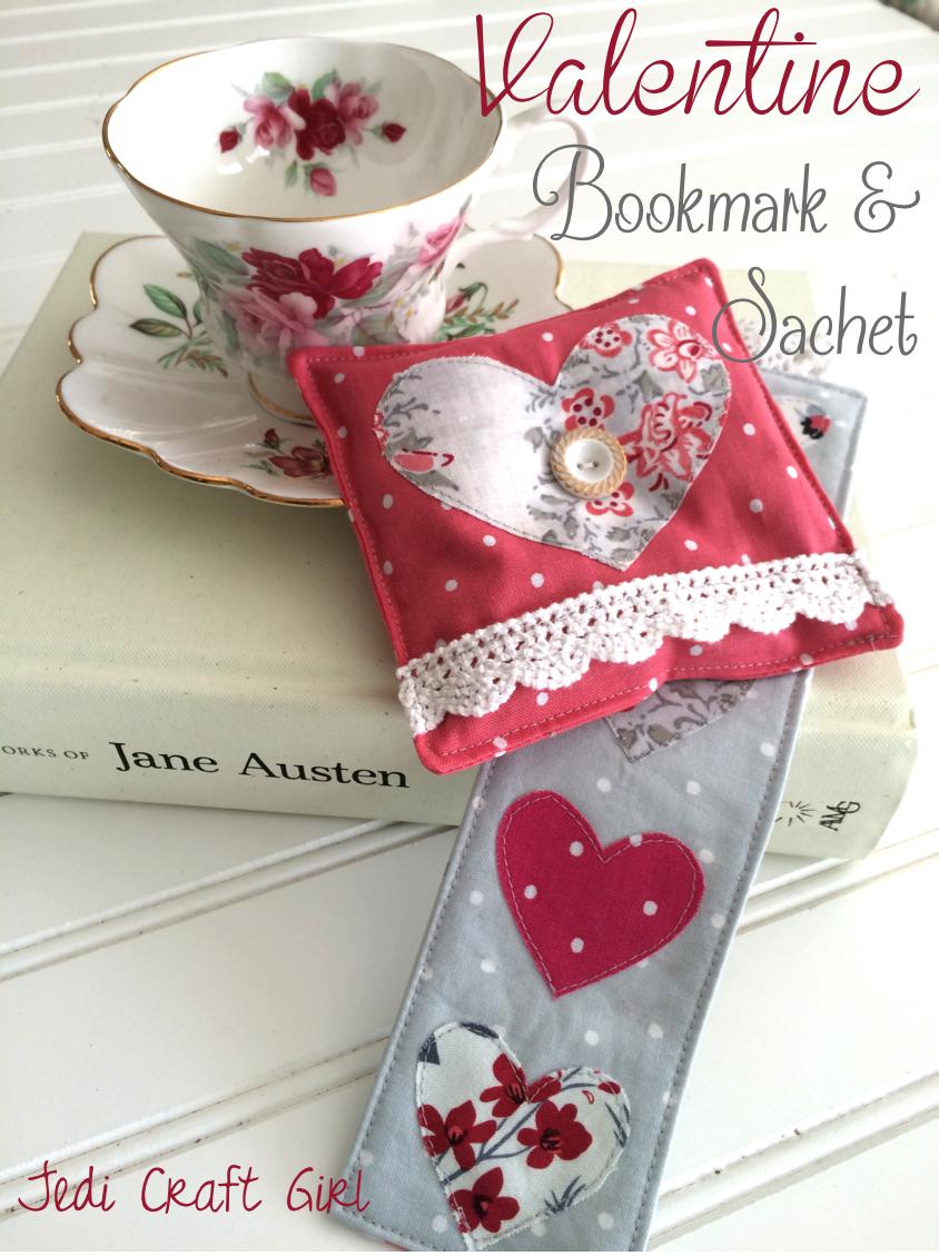valentine bookmark and sachet