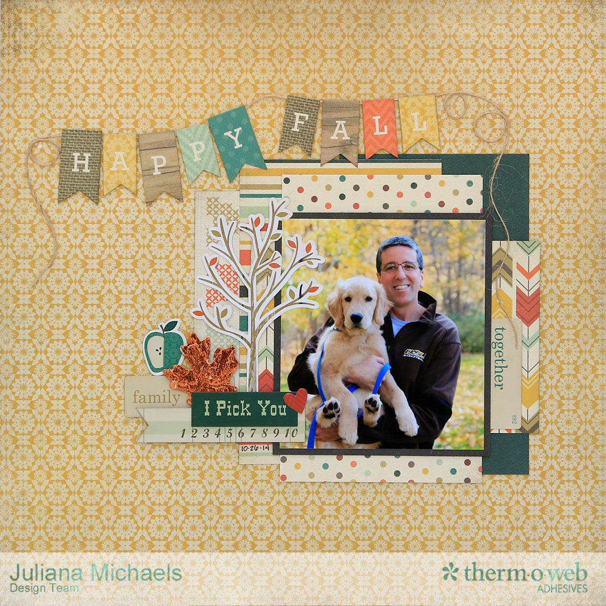 Happy Fall Scrapbook Page by Juliana Michaels featuring Therm O Web Adhesives and iCraft DecoFoil