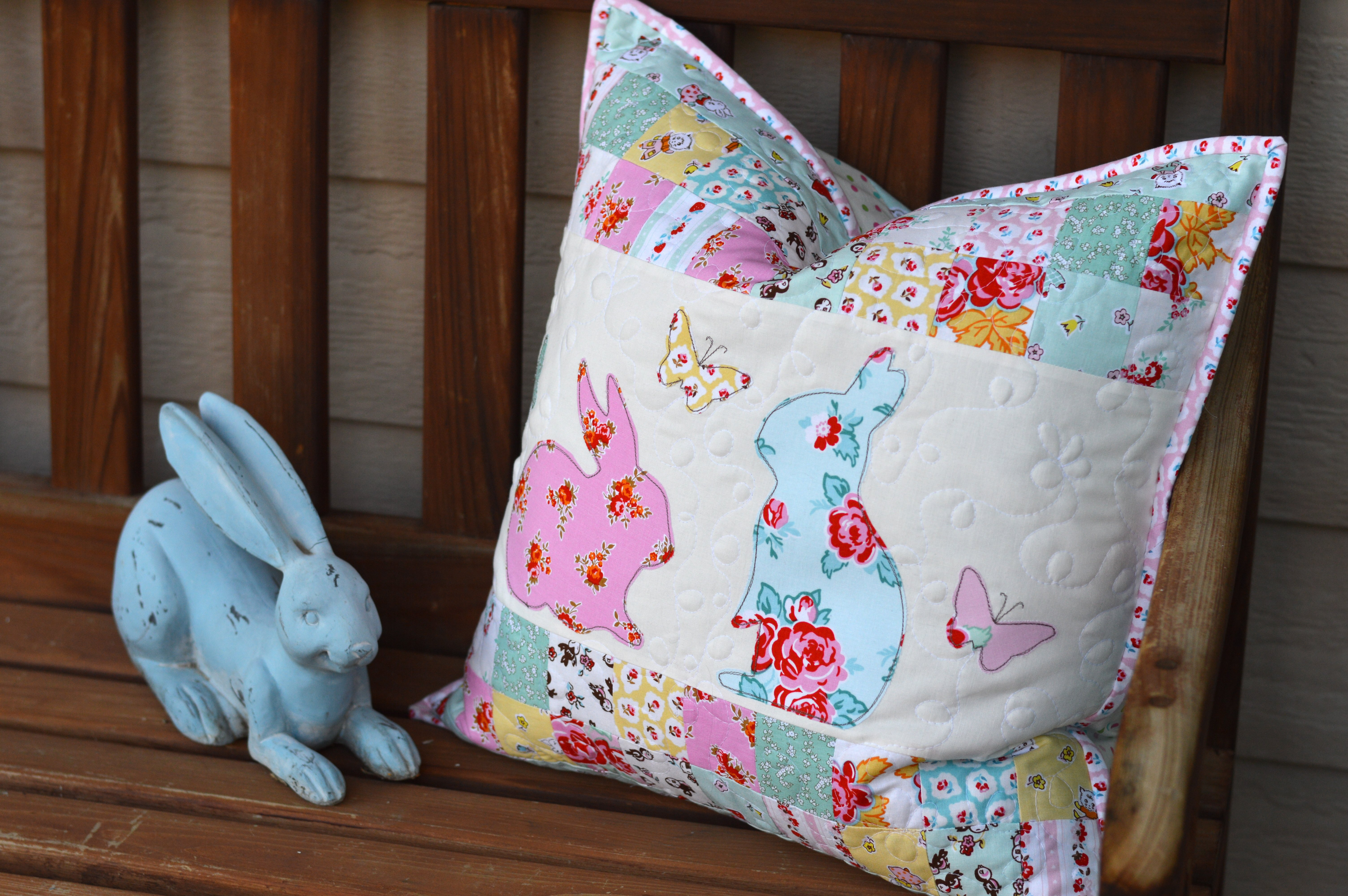 bunny applique pillow and quilt 3