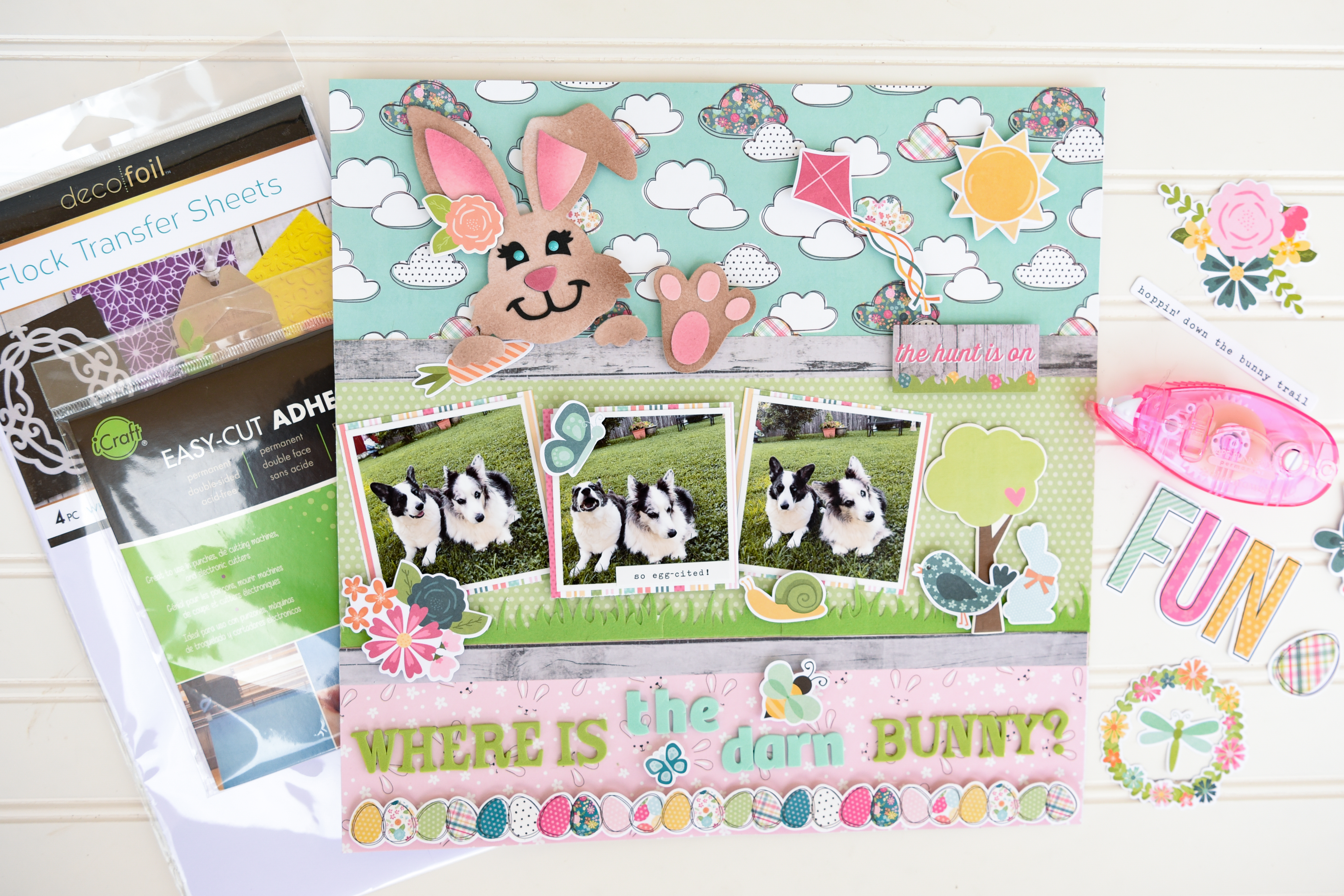 GLAM FS Where Is The Bunny Scrapbook Layout with Flock by Katrina Hunt-1