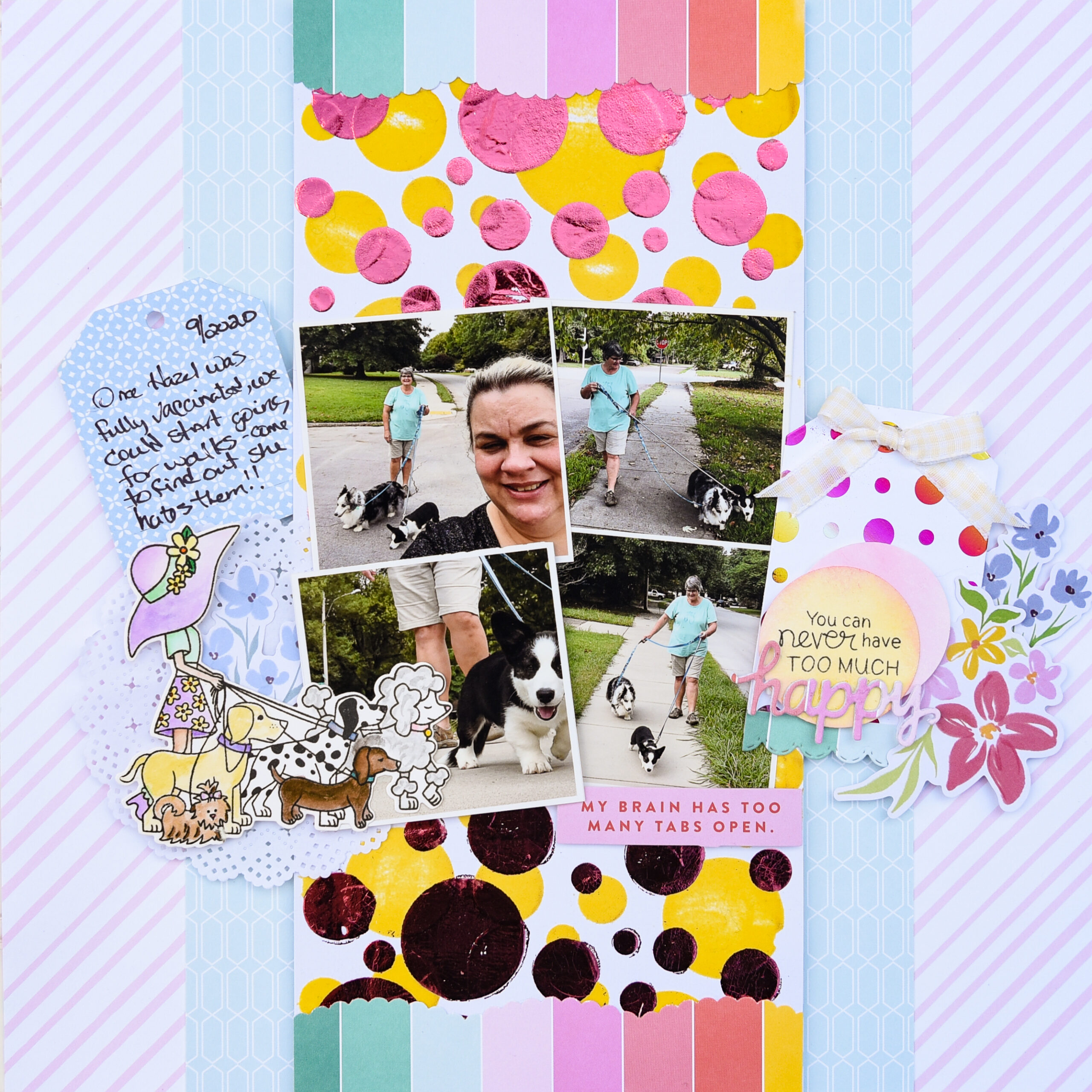 FS Never Too Much Happy Scrapbook Layout with Deco Foil and Flock by Katrina Hunt-2