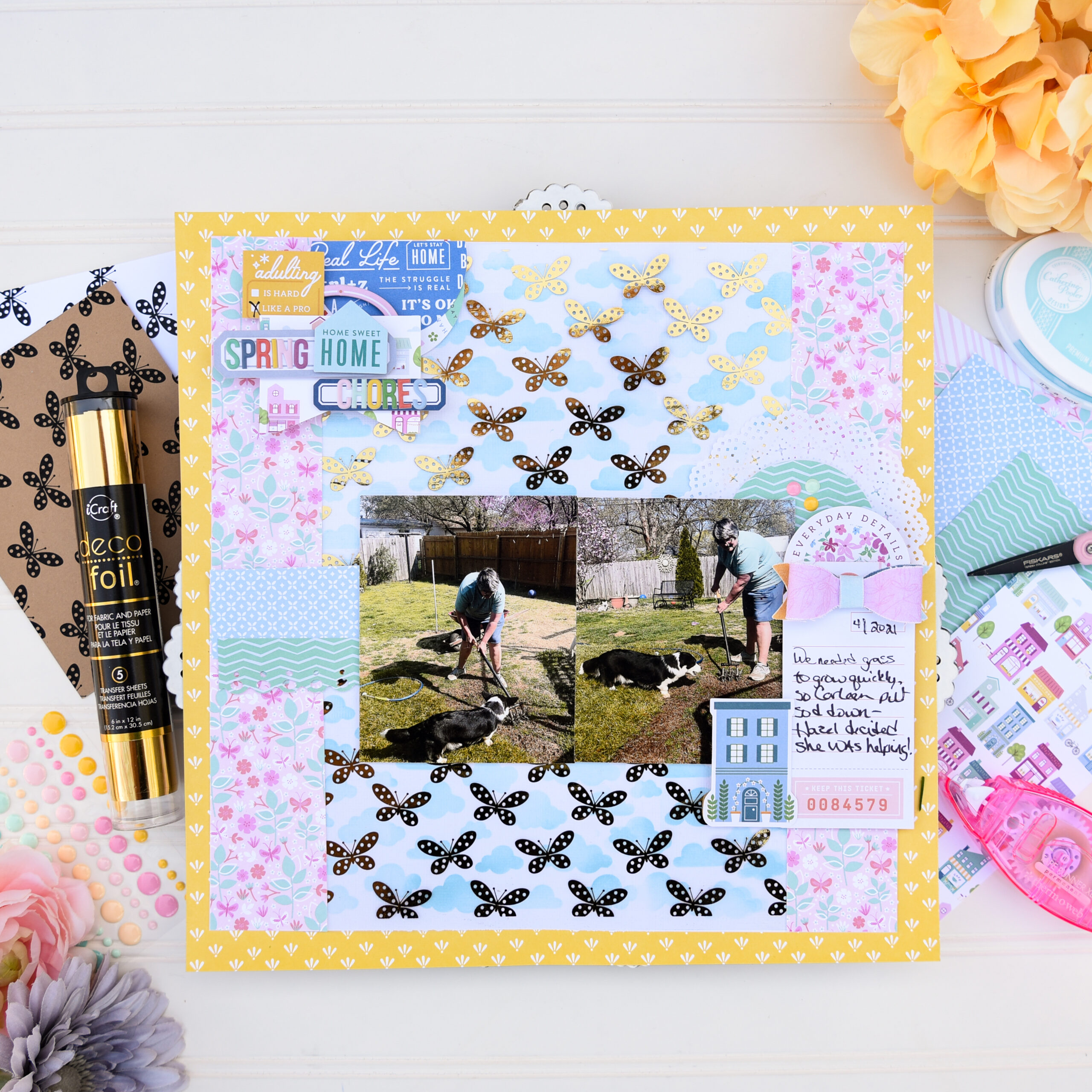 GLAM FULL SIZE Spring Chores Scrapbook Layout with Deco Foil Toner Sheets by Katrina Hunt